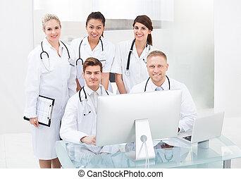 confiant, médecins, bureau