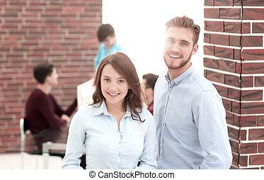 confiant, meeting., groupe, professionnels