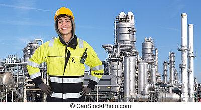 confiant, pétrochimique, ingénieur