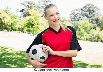 confiant, parc, football, femme, joueur