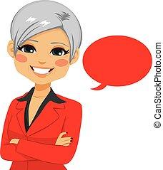 confiant, personne agee, femme affaires