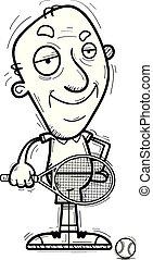 confiant, personne agee, tennis, dessin animé, joueur