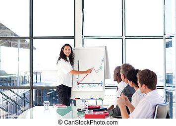 confiant, présentation, regarder, appareil photo, femme affaires