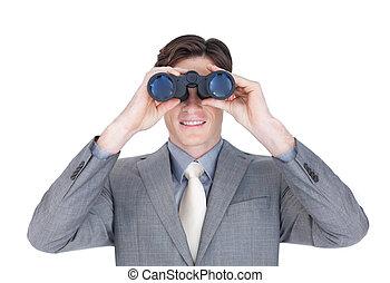 confiant, regarder, homme affaires, avenir