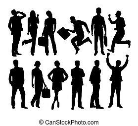 confiant, silhouettes, equipe affaires