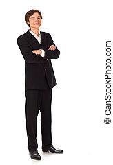 confiant, sourire, jeune, homme affaires