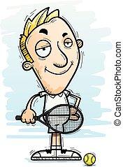 confiant, tennis, dessin animé, joueur