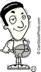 confiant, tennis, noir, dessin animé, joueur