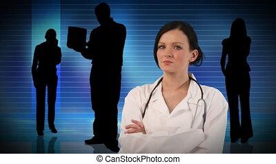 confiant, travail, docteur