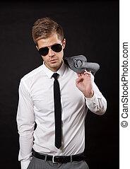 confiante, óculos de sol, homem negócios