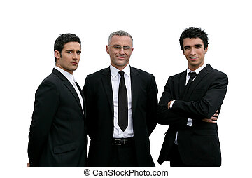 confiante, branca, três, fundo, homens negócios