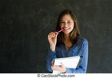 confiante, caneta, mulher, notepad