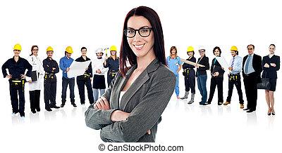 confiante, conduzir mulher, um, equipe negócio