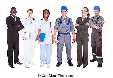 confiante, diverso, pessoas, ocupações