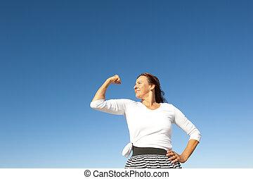 confiante, feliz, mulher sênior