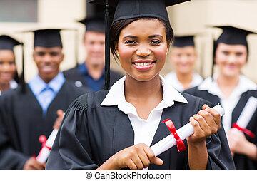 confiante, graduado, americano, africano feminino