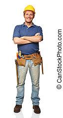 confiante, handyman, retrato