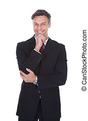 confiante, maduras, homem negócios