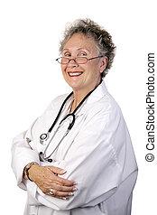 confiante, maduras, médico feminino