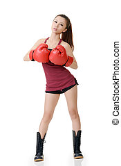 confiante, menina, boxe