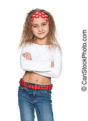 confiante, moda, menina jovem