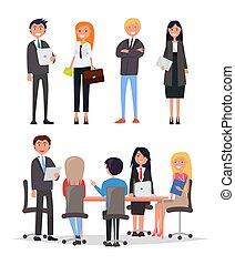 confiante, pessoas, ligado, reunião negócio, sentar, tabela