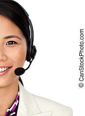 confiante, representante serviço cliente, usando, headset