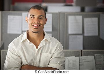confiante, trabalhador, escritório