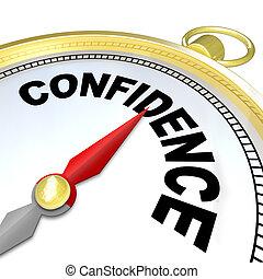 confianza, éxito, -, plomos, crecimiento, compás, usted