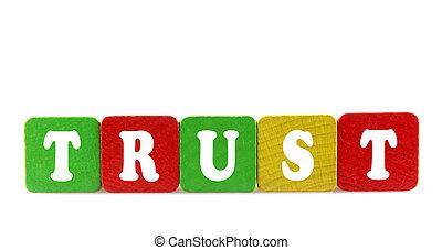confianza, -, aislado, texto, en, de madera, componentes básicos