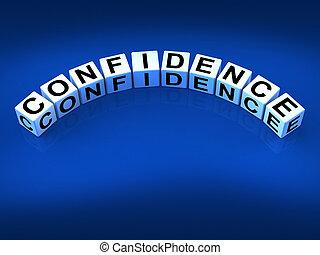 confianza, dados, certeza, usted mismo, creer, medio