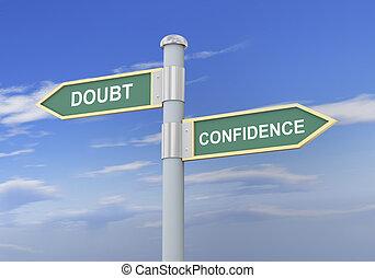 confianza, duda, 3d, muestra del camino