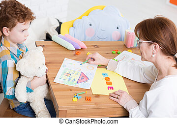 confianza, Tratar, Construya,  autistic, niño