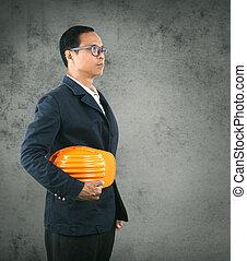 conficence, capacete, parede, próprio, contra, engenharia, segurança, cimento, segurando, retrato, homem