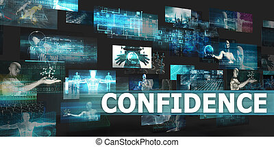 Confidence Presentation Background with Technology Abstract...