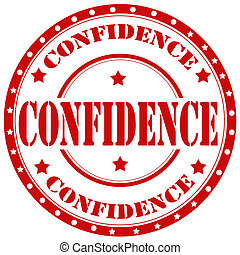 Confidence-stamp - Red rubber stamp with text Confidence, ...