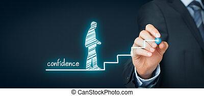 Confidence (self-confidence) improvement concept. Coach or...