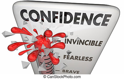 Confidence Thermometer Brave Assured Courage 3d Illustration