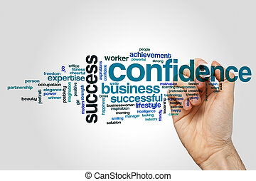 Confidence word cloud concept on grey background