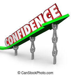 Confidence Word Team Lifting Arrow Believe Yourself