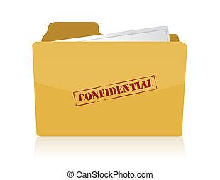 confidencial, estampado, carpeta