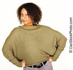 Confident adult female in sweater
