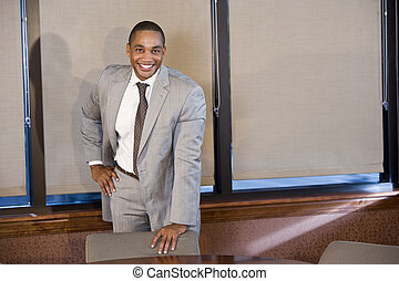 Confident African American businessman in suit