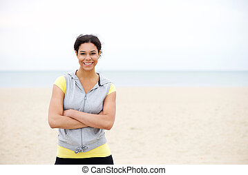 Confident african american sports woman smiling