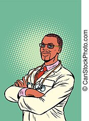 Confident African doctor. Medical profession