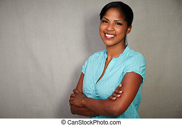 Confident african woman looking at the camera