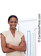 Confident Afro-american businesswoman doing a presentation to her team