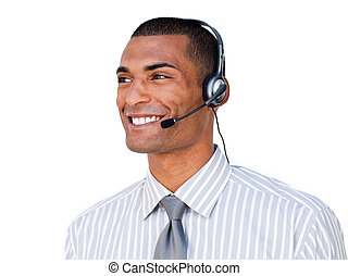 Confident Afro-american customer service agent with headset on