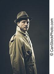Confident agent in trench coat, film noir - Confident agent...
