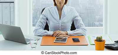 Confident American businesswoman posing in her office